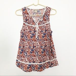 Lucky Brand Floral Print Tank Top M #2030